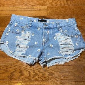 MINKPINK Daisy Print Distressed Denim Shorts
